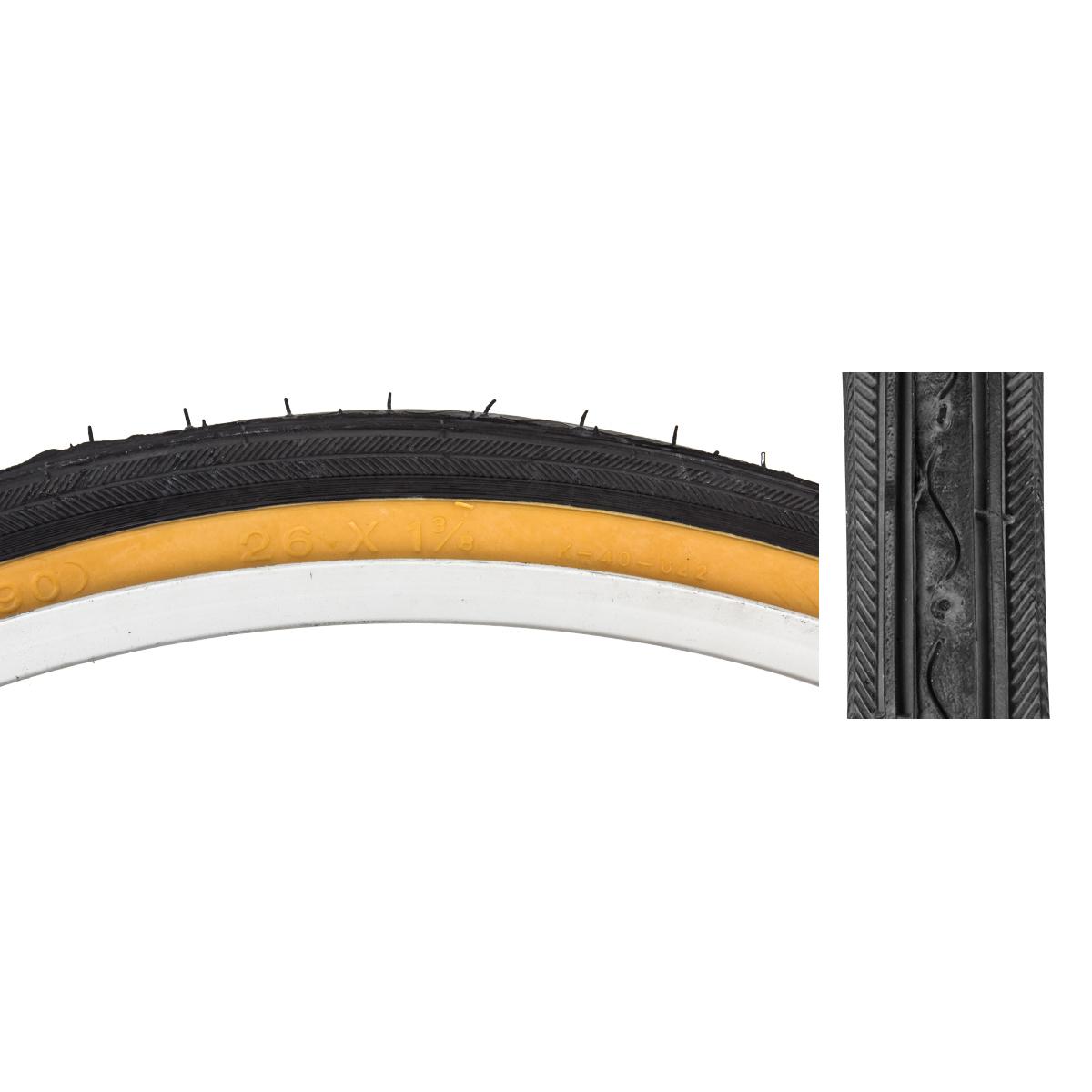 26 x 1 3//8 Road Bike Bicycle Fixie Tire Gum Wall