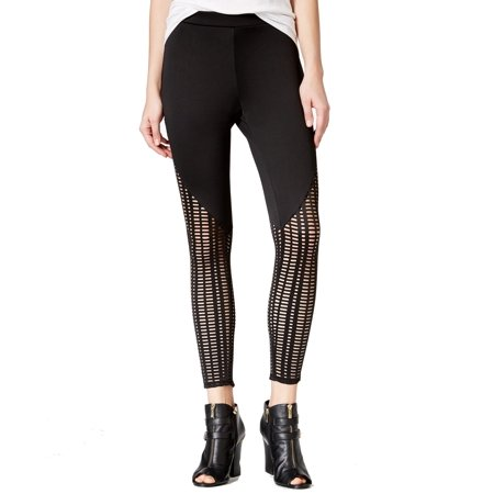 Material Girl NEW Black Caviar Size Medium M Junior Mesh Legging Pants