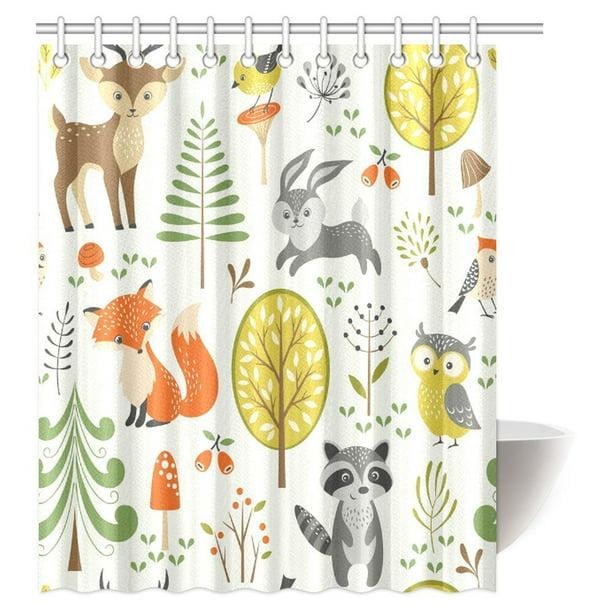 Woodland Animals Pattern Shower Curtain Fabric Decor Set with Hooks 4 Sizes