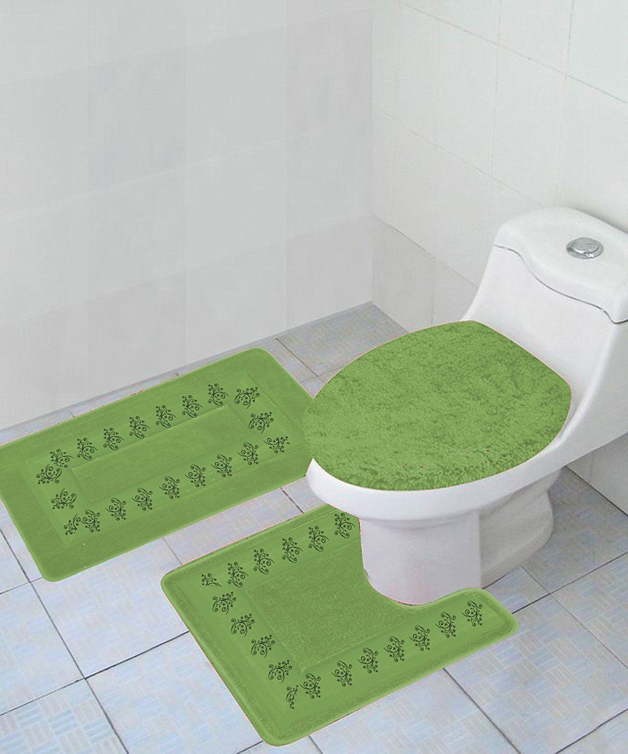 Lime Green Contour Rug: 3-PC (#5) LIME GREEN Embroidery Design Bathroom Bath Mat