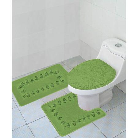 extraordinary lime green bathroom | 3-PC (#5) LIME GREEN Embroidery Design Bathroom Bath Mat ...