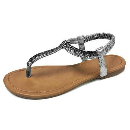 DDI 2335995 Women Metallic Rhinstone T Strap Sandal, Silver - Case of 12 - image 1 de 1