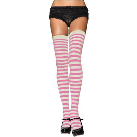cd272ff8f27e9 Leg Avenue, Inc. - Nylon Striped Stockings Adult Hosiery White / Pink - One  Size - Walmart.com