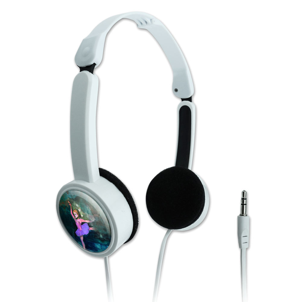 Ballet Dancer Blue Purple Ballerina Dancing Novelty Travel Portable On-Ear Foldable Headphones