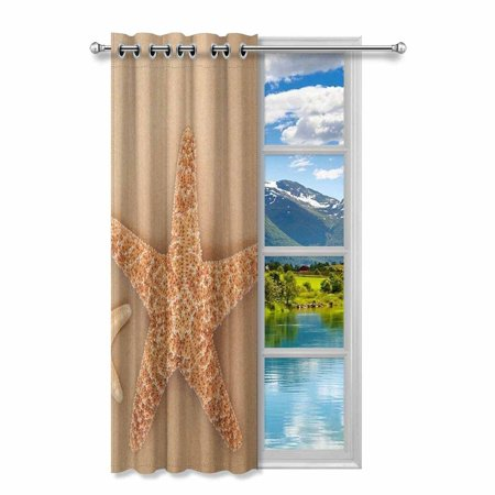 YUSDECOR Starfish and Cockle Shell Blackout Window Curtain Drapes Bedroom Living Room Kitchen Curtains 52x84 inch - image 2 of 2