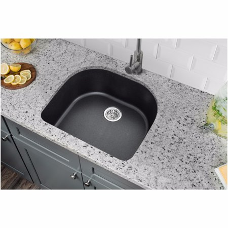 "Drop In Single Bowl - Cahaba CA344D25-B Quartz Topmount / Drop In Single Bowl Kitchen Sink, 25"" x 22"" with Twist and Lock Straine"