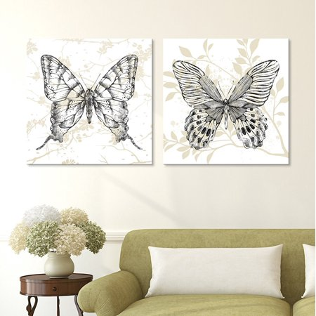 Squares Giclee Set - wall26-2 Panel Square Canvas Wall Art - Butterflies on Floral Background - Giclee Print Gallery Wrap Modern Home Decor Ready to Hang - 12