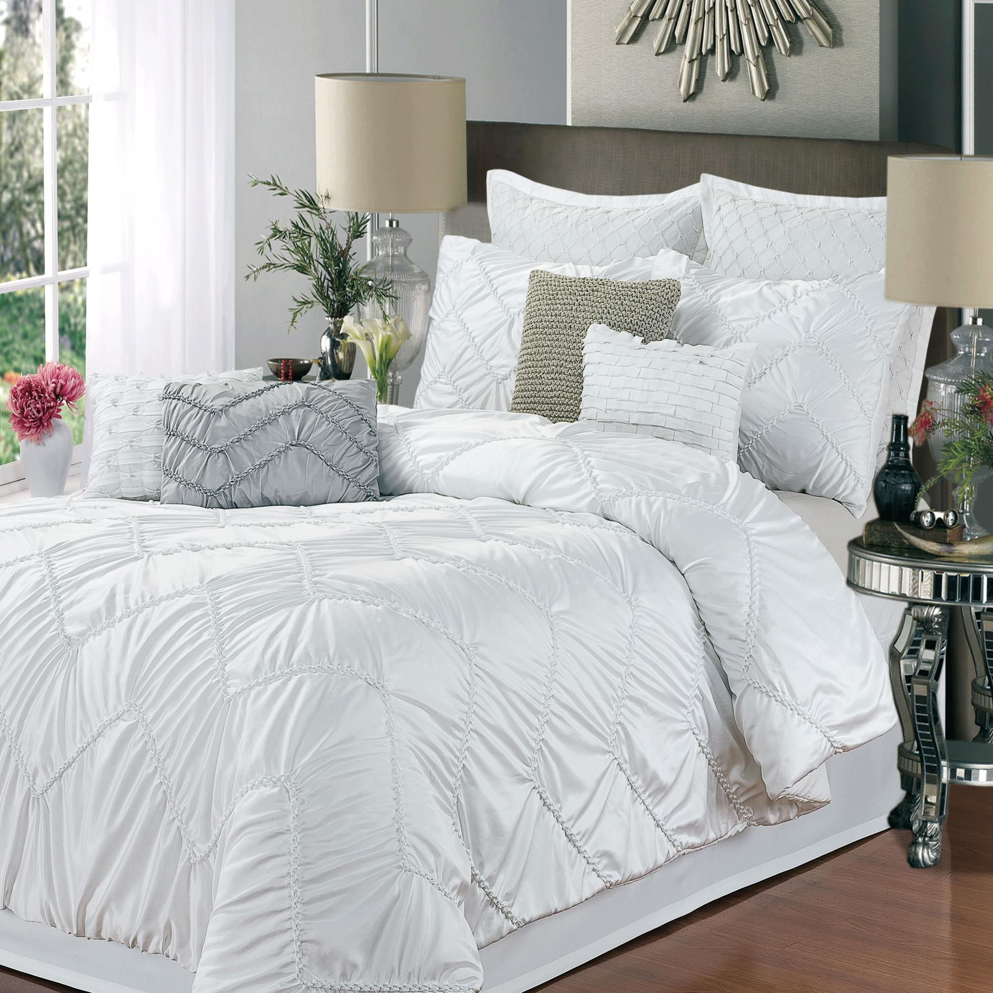 Isabella White 9 Piece Comforter Bed In A Bag Set