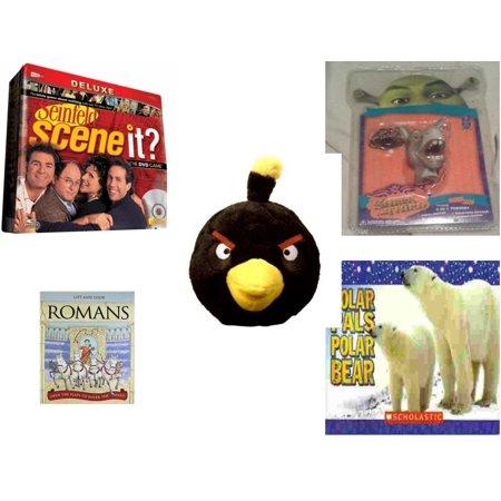 Polar Bear Game (Children's Gift Bundle [5 Piece] -  Scene It? Seinfeld - Shrek Donkey Foamheads 4 In 1 Topper Keychain  - Angry Birds Black Bird  5