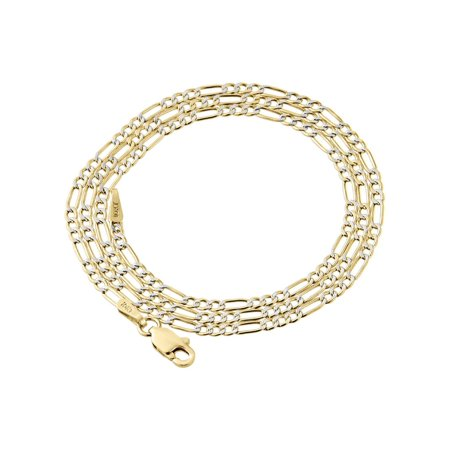 10K Yellow Gold 2mm Diamond Cut Figaro Chain Necklace Lobster Clasp, 20 Inches