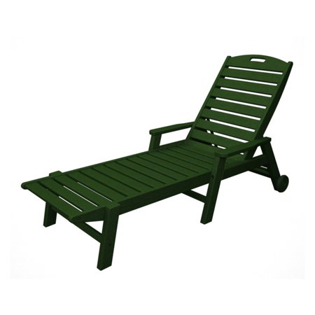 POLYWOOD® Nautical Stackable Wheeled Chaise with Arms
