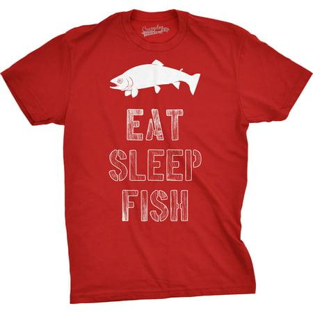 7e5738f5 Crazy Dog Funny T-Shirts - Mens Eat Sleep Fish T Shirt - Funny Vintage  Fishing Outdoors Tee - Walmart.com