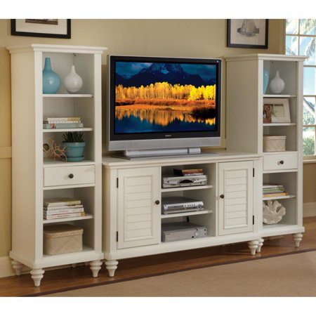 Home Styles Bermuda Brushed White 3-Piece Entertainment Center ()