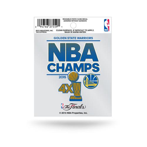 Golden State Warriors Official NBA 3.5 inch  2015 NBA Finals Champions Small Static Cling Window Car Decal by Rico