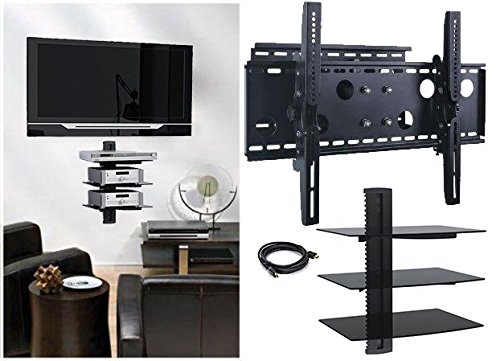 2xhome TV Wall Mount Bracket & Triple Shelf Package with HDMI Cable Secure Cantilever LED LCD Plasma Smart 3D... by 2xhome