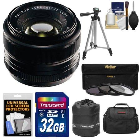 Fujifilm 35mm f/1.4 XF R Lens with 32GB Card + 3 UV/CPL/ND8 Filters + Case + Tripod Kit for X-A2, X-E2, X-E2s, X-M1, X-T1, X-T10, X-Pro2