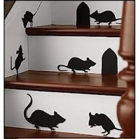 - Decal ~ MICE AND HOLES ~ WALL DECAL, HOME DECOR 6 MICE 2 HOLES ~ 11.5