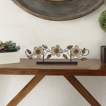 - Stratton Home Decor Stamp Wood Flower Table Top