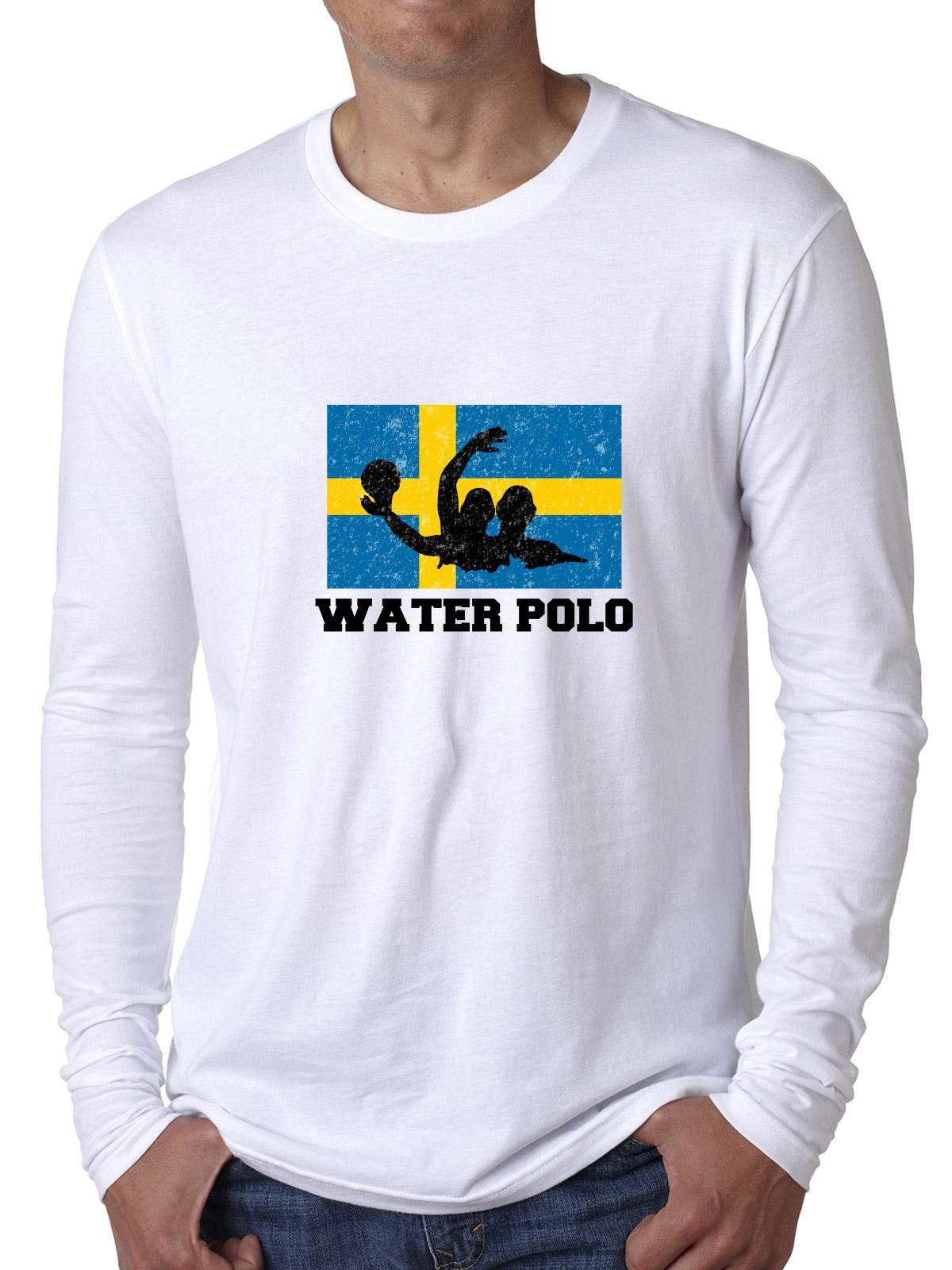 Sweden Olympic Water Polo Flag Silhouette Men's Long Sleeve T-Shirt by Hollywood Thread
