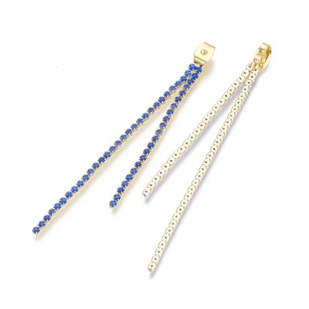 UnCommon Artistry Designer Gold Plated 6x4x3.5mm Ear Nuts with Sapphire Crystal Rhinestone Cup Chains (2)