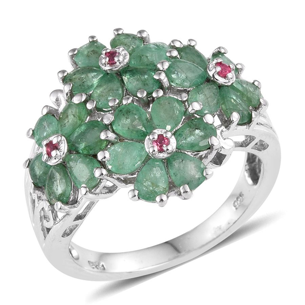 Emerald, Pink Spinel Platinum Plated Silver Ring 3.2 cttw by Shop LC