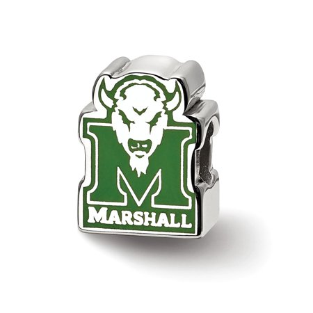 Marshall University Charm (Mia Diamonds 925 Sterling Silver LogoArt Marshall University M with Head Enameled Logo Bead Charm for Charm)