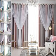 Floor Starry Stars Blackout Curtains + Mesh for Kids Girls Bedroom Living Room, Gradient 2 Layer Hollow-Out Curtains