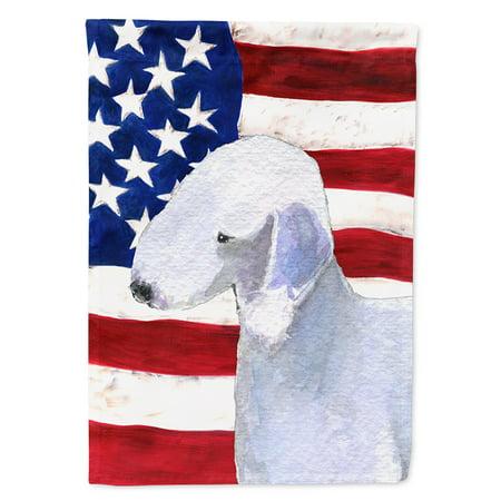 USA American Flag with Bedlington Terrier Garden Flag ()