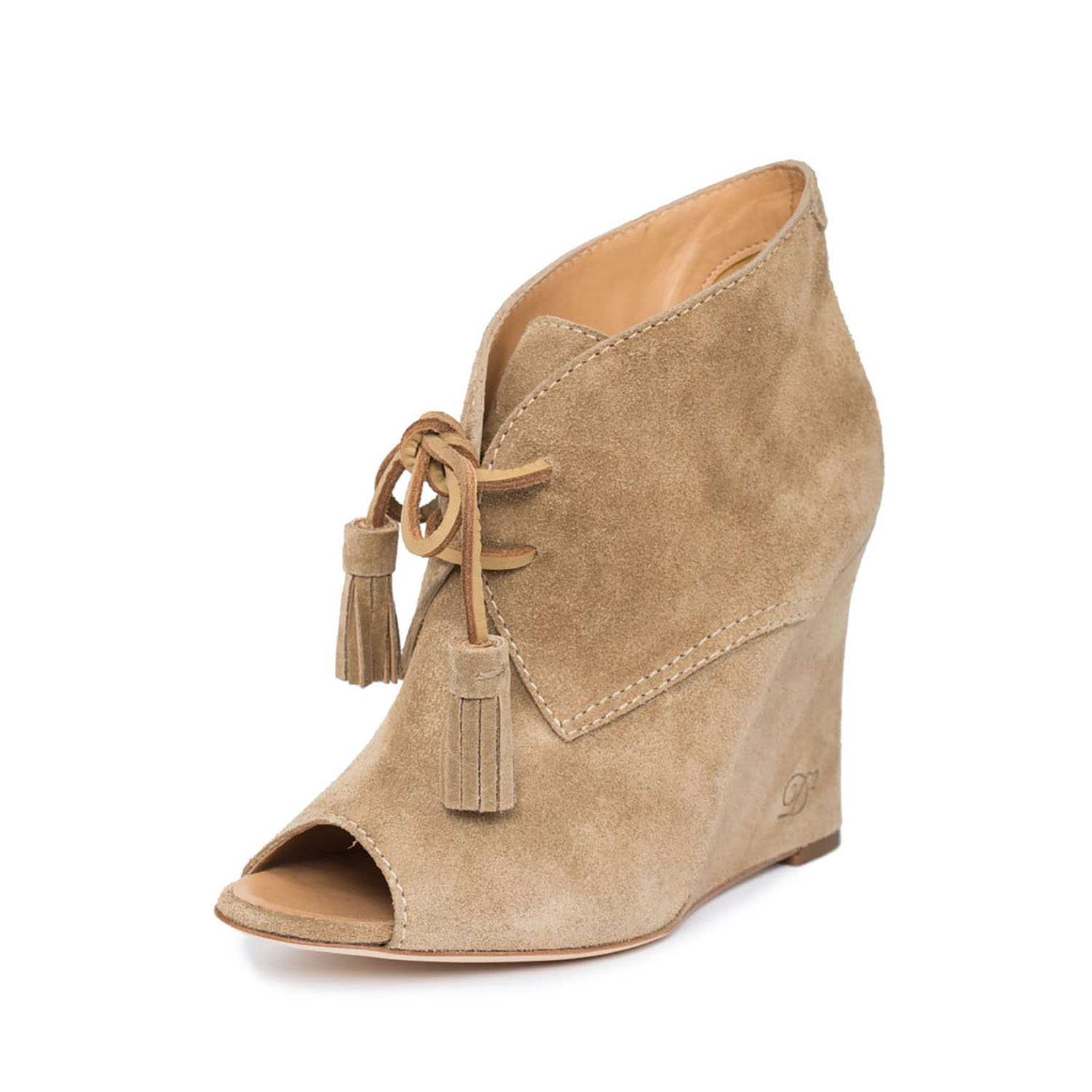 Dsquared2 Women Nude Suede Leather Peep Toe Wedge Heel Lace-Up Booties Shoes US 10 EU 40