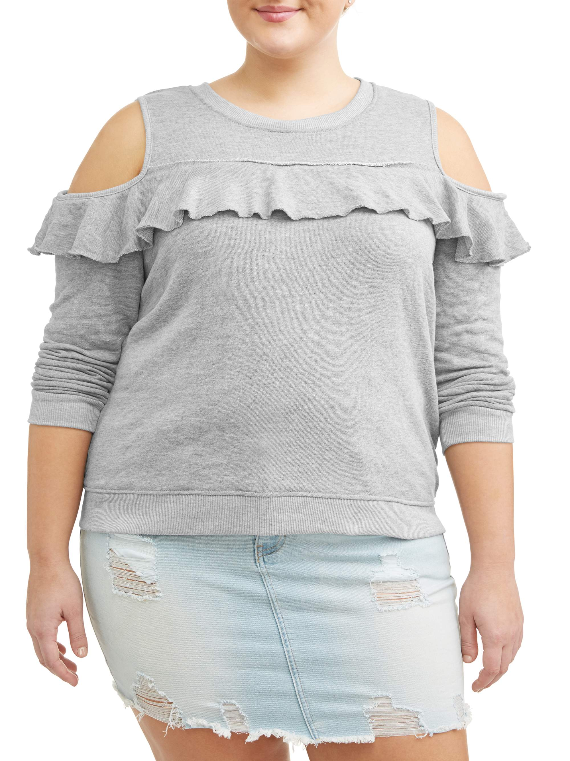 Juniors' Plus Size Scoop Neck Cold Shoulder Sweatshirt with Ruffle Trim