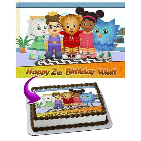 Daniel Tiger's Neighborhood Edible Image Cake Topper Personalized Icing Sugar Paper A4 Sheet Edible Frosting Photo Cake 1/4 Edible Image for cake (Daniel Tiger Birthday Cake)