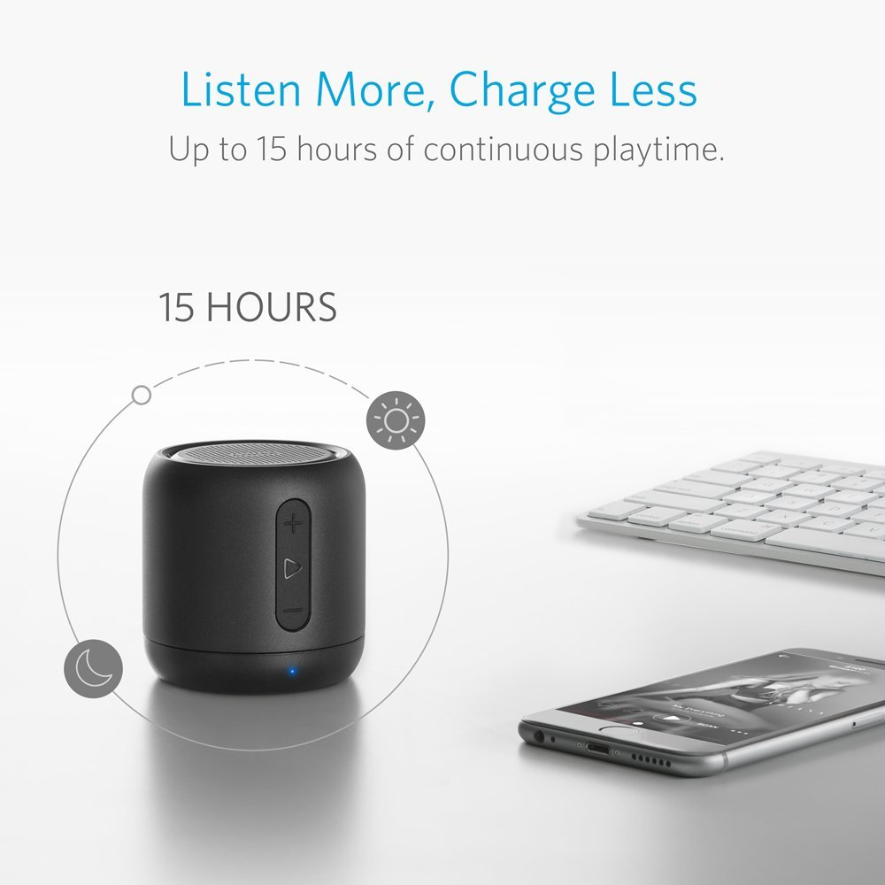 Anker Soundcore Mini Super Portable Bluetooth Speaker With 15 Hour Playtime 66 Foot Range Enhanced Bass Noise Cancelling Microphone Black