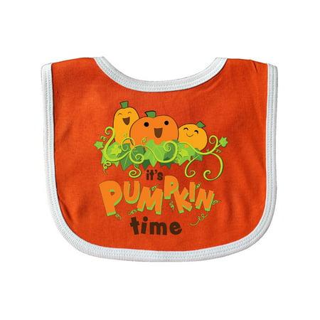 It's Pumpkin Time Baby Bib Orange/White One Size - Baby In Pumpkin