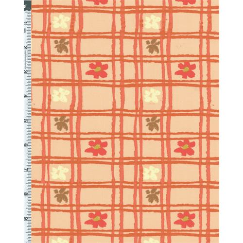 Peach Nel Whatmore Eden Picnic Check Print Cotton, Fabric By the Yard