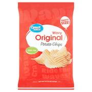 Great Value Original Wavy Potato Chips Party Size!, 15.25 oz