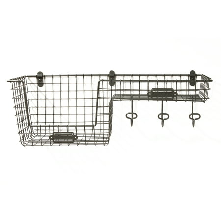 Spectrum Diversified Vintage Wall Mount Large Basket Station, Industrial Gray, 15476 ()