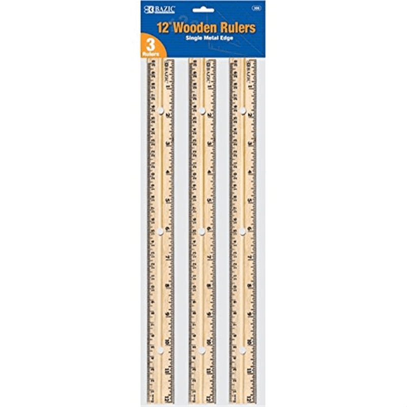 6 Pk, BAZIC Wooden Ruler, 12 Inch, 3 Per Pack (18 Total) by Bazic Products