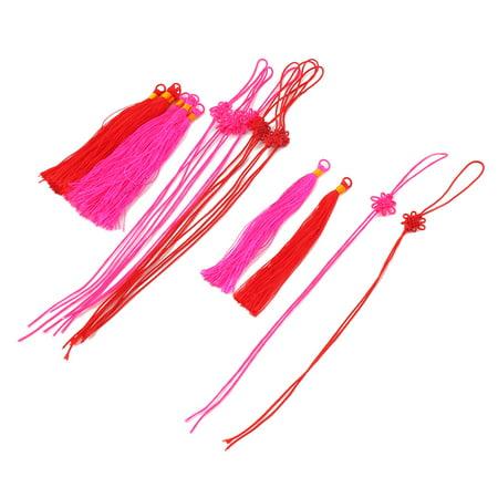 Bookmark Craft (Nylon Handmade Craft Tassel Bookmark Decor Chinese Knot Red Fuchsia 10)