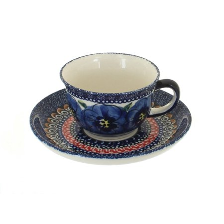 Polish Pottery Blue Art Espresso Cup & Saucer