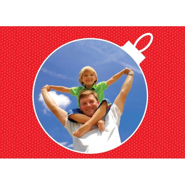 Birchcraft Studios 2209 Ornament Photo Card in Red - Gold Lined Envelope with White Lining - Red Ink - Pack of 25