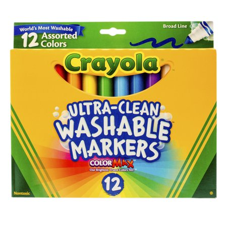 Crayola Washable Marker Set, 12-Colors, Broad