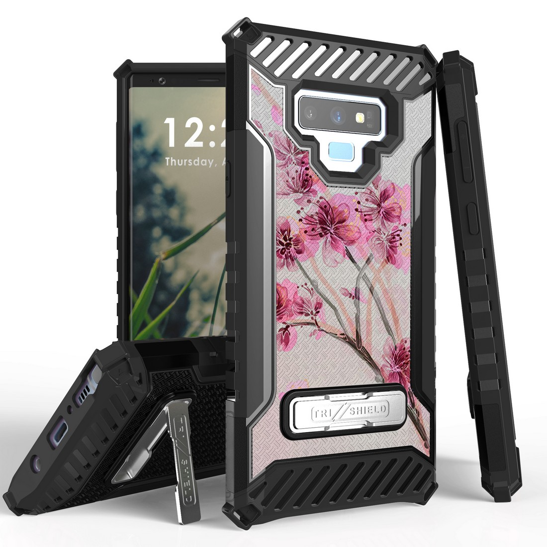 Beyond Cell Military Grade Drop Tested [MIL-STD 810G-516.6] Kickstand Rugged Cover Armor Case and Atom Cloth Samsung Galaxy Note 9 - Pink Cherry Blossom