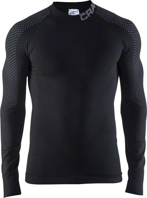 Craft Warm Intensity Men's Base Layer Crew Neck Long Sleeve Top Black Granite by Craft