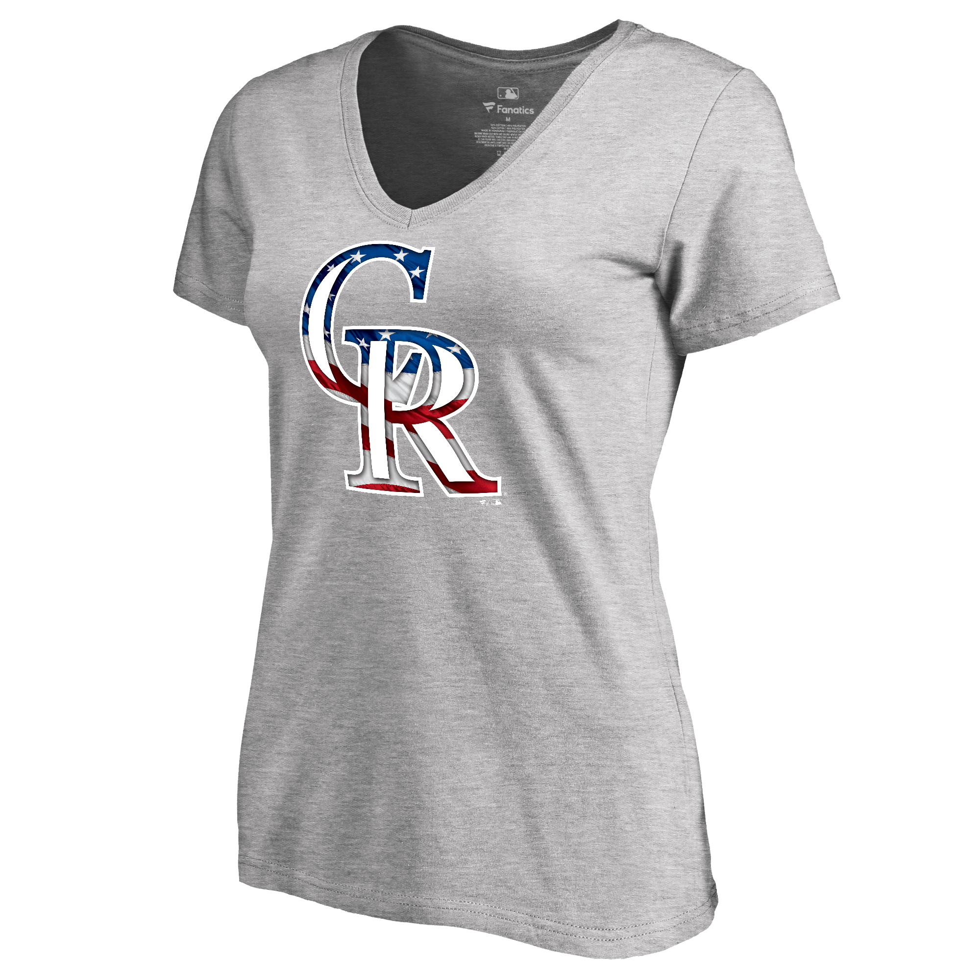 Colorado Rockies Fanatics Branded Women's 2018 Memorial Day Banner Wave V-Neck T-Shirt - Heather Gray