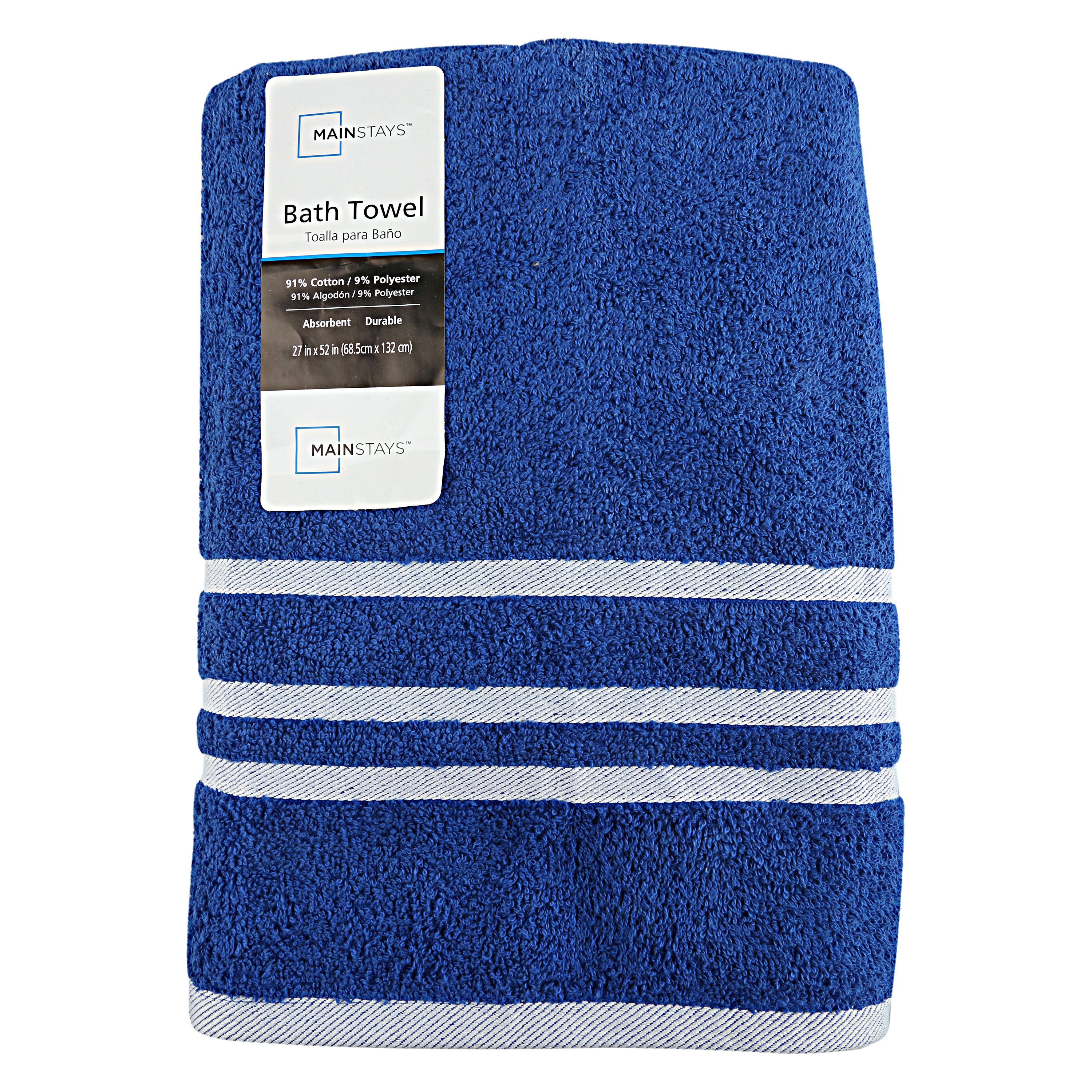 Click here to buy Mainstays Royal Spice Blue and White Basic Bath Towel, 27 x 52 Inches.