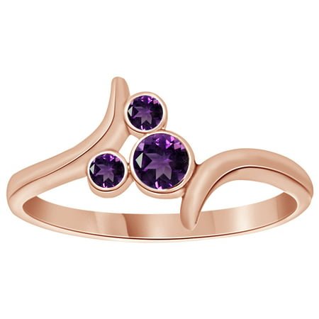 Simulated Amethystpass Mickey Mouse Ring in 14k Rose Gold Over Sterling Silver - Mickey Ring