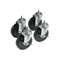 """4"""" Casters, 3/8"""" Bolt, Heavy Duty, Total Loading Capacity 600 lbs, 4-Pack"""