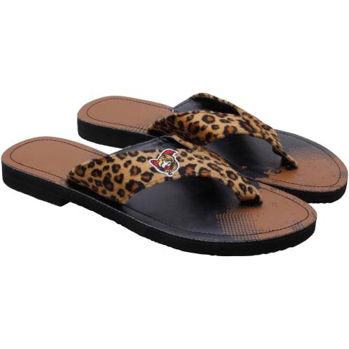 Ottawa Senators Women's Cheetah Strap Flip Flops