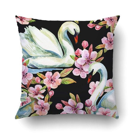 BPBOP Watercolor Swan Cherry Bloom Swimming Bird Among Flowers Pattern Hand Painted Pillowcase Pillow Cushion Cover 16x16 (Hand Painted Cherry)