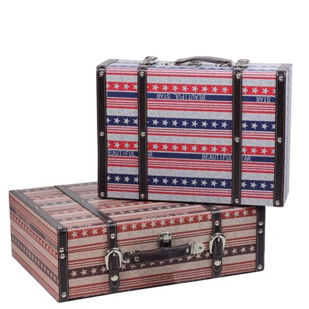 Set of 2 Vintage-Style Red, White and Blue Beautiful Star Decorative Wooden Luggage Trunks